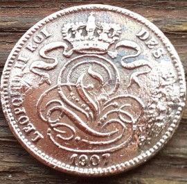 1 Сантим, 1907 года, Королевство Бельгия, Монета, Монеты, 1 Centimo 1907, Фауна, Лев, Lion, Корона, Crown.