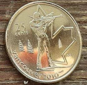 25 Центов, 2007 года,Канада, Монета, Монеты, 25 Cents 2007, Canada,Спорт, Біатлон, Олімпіада Ванкувер, Sports, Biathlon, Vancouver Olympics, Спорт, Биатлон, Олимпиада Ванкувер на монете, Королева Elizabeth II, Елизавета IIна монете, Четвертый портрет королевы.