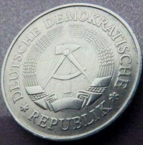 1 Марка,1977 года, ГДР, Германия, Німеччина,Монета, Монеты, 1 Mark1978,DDR,Oak leaves,Дубовые листья на монете,Spikelets, Колоски,Hammer, Молоток на монете.