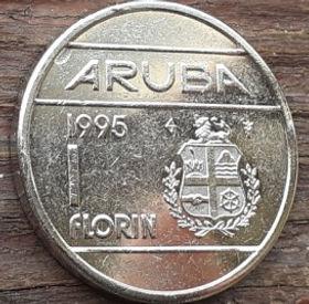 1 Флорин, 1995 года, Аруба, Монета, Монеты, 1 Florin 1995, Aruba,Coat of arms of Aruba,Герб Арубына монете,Королева Beatrix,Беатриксна монете.