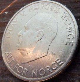 5 Крон, 1968 года, Норвегия, Монета, Монеты, 5 Kroner 1968, Norge, Crown,Корона,Fauna, Фауна, Лев, Lionна монете,Король ОлафV на монете.