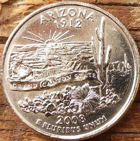 1/4 Доллара, 2008 года,Соединенные Штаты Америки, Монета, Монеты, Quarter Dollar2008,The United States of America,Arizona, Аризона,Великийканьйон, гігантський цереус (кактус), Grand Canyon, Giant Cereus (cactus),Большой каньон, гигантский цереус(кактус) на монете, President George Washington, Президент Джордж Вашингтонна монете.
