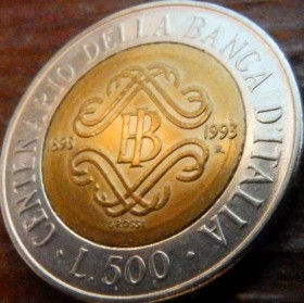 500 Лир, 1993 года, Италия, Монета, Монеты, 500 Lire1993, Italiana, Italy,Bank of Italy,Банк Италии на монете,Жінка, Woman, Женщинана монете.
