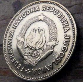 50 Динаров, 1955 года, ФНР Югославия, Монета, Монеты, 50 Dinara 1955, FNRJugoslavija, ФНР Jугославиjа, Чоловік,Man, Мужчина, Gear, Шестерня,Жінка,Woman,Женщина, Spikelets, Колоскина монете,Coat of Arms,Герб на монете.