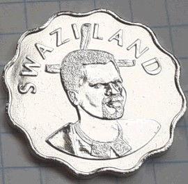 20 Центов, 2005 года, Свазиленд, Эсватини, Монета, Монеты, 20 Cents 2005, Swaziland, Eswatini, Fauna, Elephant, Фауна, Слон на монете, King Mswati III, Король Мсвати III на монете.