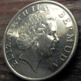 25 Центов, 2002года, Бермудские Острова, Монета, Монеты, 25 Twenty-Five Cents 2002, Bermuda,Fauna, Bird,Phaethon lepturus,Фауна, Птица,Белохвостый фаэтонна монете,Королева Elizabeth II, Елизавета IIна монете, Четвертый портрет королевы.