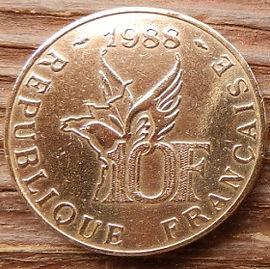 10 Франков, 1988 года, Франция,Монета, Монеты, 10 Francs1988,RepubliqueFrancaise, France,Пташка, Bird,Птицана монете, Літак, Plane, Самолет,Roland Garros,Ролан Гарросна монете.