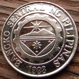 1 Песо, 2004года, Филиппины,Монета, Монеты, 1 Piso 2004,Republika ng Pilipinas, Jose Rizal,Хосе Рисальна монете,Emblem, Эмблемана монете.