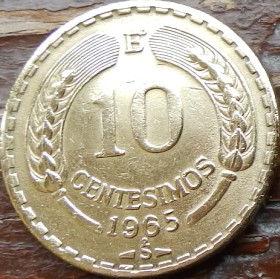 10 Сентесимо,1965 года, Чили, Монета, Монеты, 10 Centesimos1965, Republica deChile, Flora,Spikelets, Флора,Колоскина монете, Фауна, Птах,Андійський кондор,Fauna, Bird, Andean condor,Фауна, Птица, Андский кондор на монете.