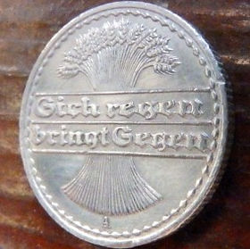50 Пфеннигов,1921 года, Германия, Німеччина,Монета, Монеты, 50 Pfennig 1921,Deutsches Reich,Spikelets, Колоскина монете.