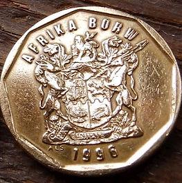 50 Центов, 1996 года, ЮАР,Монета, Монеты, 50 Cents1996,South Africa, Afrika Borwa, Flora, Flower, Strelitzia, Флора, Цветок,Стрелитция на монете, Coat of arms of South Africa, ГербЮАРна монете.