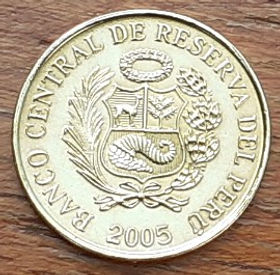 1 Сентимо,2005 года, Перу, Монета, Монеты, 1 Centimo 2005, Peru,Народний орнамент,Folk ornament,Народный орнаментна монете,Coat of arms of Peru,Герб Перу на монете.