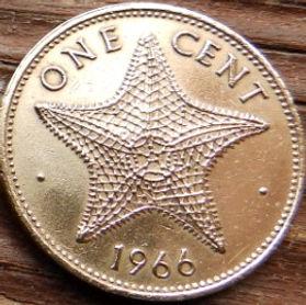 1 Цент, 1966 года, Багамские Острова, Монета, Монеты, 1 One Cent1966, Bahama Islands,Фауна, Морська зірка, Fauna,Starfish, Фауна,Морская звезда на монете,Королева Elizabeth II, Елизавета IIна монете, Второй портрет королевы.