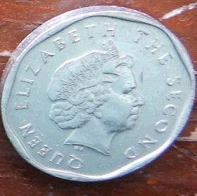 1 Цент, 2004 года, Восточно-Карибские штаты, Монета, Монеты, 1 One Cent2004, East Caribbean States,Флора, Гілки дерева,Flora, Tree branches, Флора, Ветви дерева на монете,Королева Elizabeth II, Елизавета IIна монете, Четвертый портрет королевы.