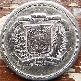 25 Сентаво, 1980 года, Доминиканская Республика, Монета, Монеты, 25Centavos 1980, Republica Dominicana,Coat of arms of the Dominican Republic, Герб ДоминиканскойРеспублики на монете, Juan Pablo Duarte,Хуан Пабло Дуартена монете.