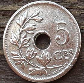 5 Сантимов, 1910 года, Королевство Бельгия, Монета, Монеты, 5 Centimes 1910, Belgium,Рослинний орнамент,растительный орнамент,floral ornament, Монета с отверстием посередине, Корона, Crown, Вензель Альберта I.