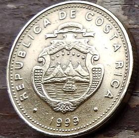 50 Колонов, 1999 года,Коста-Рика, Монета, Монеты, 50 Colones1999,Republica de Costa Rica,Гілки дерева,Tree branches,Ветви дерева на монете, Coat of arms ofCosta Rica,Герб Коста-Рикина монете.