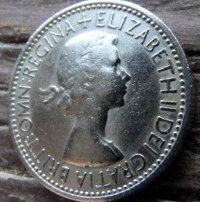 1 Шиллинг, 1953 года,Великобритания, Монета, Монеты, 1 One Shilling1953, Корона, Crown, Fauna,Фауна, Lion, Лев,КоролеваElizabeth II, ЕлизаветаII на монете.