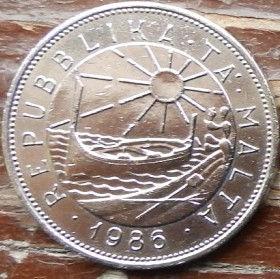 50 Центов, 1986 года, Мальта, Монета, Монеты, 50 Cents 1986, Malta, Flora,Флора,Квітка,Flower,Цветокна монете, Sea, Море, Човен, Boat, Лодка,Sun,Cолнцена монете.