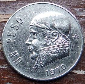 1 Песо, 1970 года,Мексика, Монета, Монеты, 1 UnPeso 1970,Estados Unidos Mexicanos,Jose Maria Morelos,Хосе Мария Морелос на монете,Coat of arms of Mexico, Герб Мексикина монете.