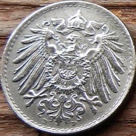 5 Пфеннигов,1921 года, Германия, Німеччина,Монета, Монеты, 5 Pfennig 1921,Deutsches Reich, Coat of arms,Герб,Корона, Crown, Fauna, Фауна, Пташка, Bird,Птица, Eagle, Орел на монете.