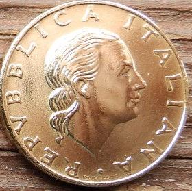 200 Лир, 1989 года, Италия, Монета, Монеты, 200 Lire1989, Italiana, Italy, Ship,Корабль,Вітрильний фрегат, Sailing frigate, Парусный фрегат, Drawbridge,Разводной мостна монете,Жінка, Woman, Женщинана монете.