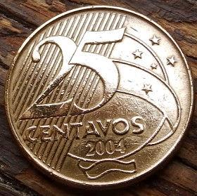 25 Сентаво,2004 года, Бразилия, Монета, Монеты, 25 Centavos 2004, Brasil,Manuel Deodoro da Fonseca, Мануэль Деодоро да Фонсекана монете.