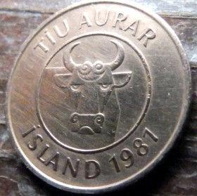 10 Эйре, 1981 года, Исландия, Монета, Монеты, 10 Tiu aurar1981, Island,Iceland, Fauna,Фауна,Squid,Кальмарна монете, Бик, Bull, Быкна монете.