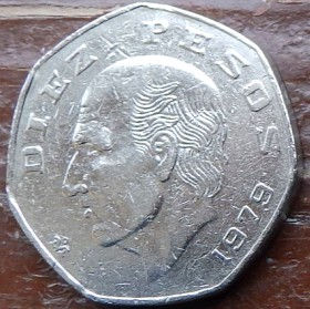 10 Песо, 1979 года,Мексика, Монета, Монеты, 10 Diez Pesos 1979,Estados Unidos Mexicanos,MiguelIgnacio Hidalgo,Мигель Идальго на монете,Coat of arms of Mexico, Герб Мексикина монете.