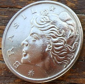 50 Сентаво,1970 года, Бразилия, Монета, Монеты, 50 Centavos 1970, Brasil,Завантаження корабля в порту, Loading the ship in port,Загрузка корабля в портуна монете,Дівчина, Girl,Девушка на монете.