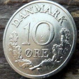 10 Эре, 1961 года, Дания, Монета, Монеты, 10 Ore 1961, Danmark,Рослинний орнамент,растительный орнамент,floral ornament, Crown,Корона,Monogram, ВензельКороляФредерика IX на монете.