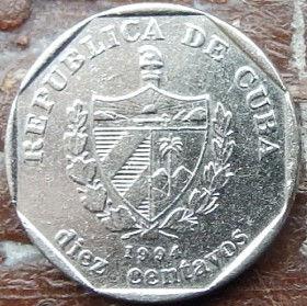 10 Сентаво, 1994 года, Куба, Монета, Монеты, 10 Diez Centavos 1994, Republica De Cuba,Castillo de la Real Fuerza de La Habana,КрепостьРеаль-Фуерсана монете, Coat of arms of Cuba, Герб Кубы на монете.