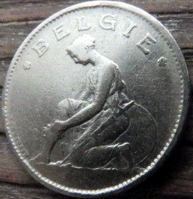 1 Франк,1923 года, Королевство Бельгия, Монета, Монеты, 1 Franc 1923, Belgium,Belgie, Goed Voor, Воїн,Воин на монете.
