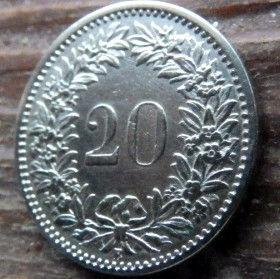 20 Раппен,1909 года, Швейцария,Монета, Монети,20 Rappens1909, Confederatio Helvetica, Швейцарія, Switzerland,Рослинний орнамент, Растительныйорнамент,Floral ornamentна монете, Дівчина, Girl, Девушка на монете.
