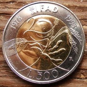 500 Лир, 1998 года, Италия, Монета, Монеты, 500 Lire1998, Italiana, Italy,Стебла злаків в руці,Cereal stalks in hand,Стебли злаков в руке на монете,Жінка, Woman, Женщинана монете.