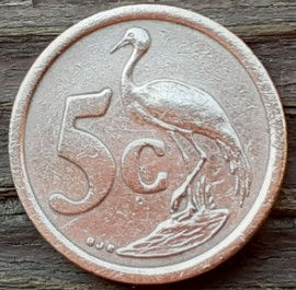 5 Центов, 1996 года, ЮАР, Монета, Монеты, 5 Cents 1996, South Africa,  Afrika-Dzonga, Фауна, Птах, Африканська красавка, Fauna, Bird, Anthropoides Paradisea, Фауна, Птица, Африканская красавка на монете, Coat of arms of South Africa,  Герб ЮАР на монете.