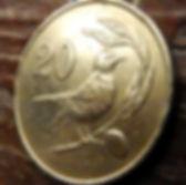 20 Центов, 1983 года, Кипр, Монета, Монеты,20 Cents1983,Cyprus, Пташка, Bird,Птицана монете,Рослинний орнамент,растительный орнамент,floral ornament,Голуб з оливковою гілкою, Pigeon with olive branch,Голубь с оливковой ветвью на монете.