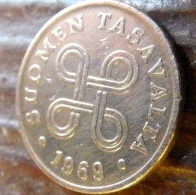 1 Пенни, 1969 года, Финляндия, Монета, Монеты, 1 Penni1969, Suomen Tasavalta,Suomi, Finland,Об'єднані чотири петлі,Объединены четыре петли на монете.