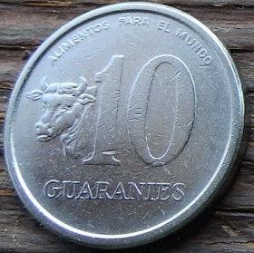 10 Гуарани,1978 года, Парагвай, Монета, Монеты, 10 Guaranies1978, Republica Del Paraguay, FAO, ФАО,Fauna, Cow,Фауна, Корована монете, General Eugenio Alejandrino Garay,ГенералГарайна монете.