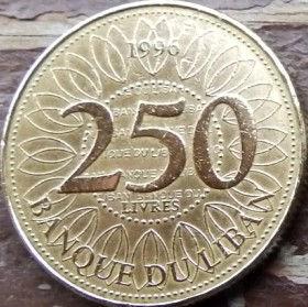 250 Ливров, 1996 года, Ливан, Монета, Монеты, 250 Livres 1996, Liban, Геометричний орнамент, Geometric ornament, Геометрический орнамент на монете, Cedar tree, Дерево Кедр на монете.
