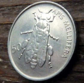 50 Стотинов, 1993года,Словения,Монета, Монеты,50 Petdeset Stotinov 1993, Republika Slovenija,Fauna, Фауна, Бджола, Bee, Пчелана монете.