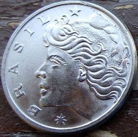 20 Сентаво,1977 года, Бразилия, Монета, Монеты, 20 Centavos 1977, Brasil,Derrick,Буровая вышкана монете,Дівчина,Girl,Девушка на монете.