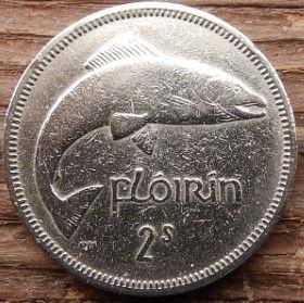 2 Шиллинга,Флорин,1966 года, Ирландия, Монета, Монеты,Ireland, 2 S,Shillings 1966,Florin,Eire, Риба, Fish, Рыбана монете,Harp,Арфа на монете.