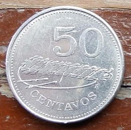 50 Сентаво, 1980 года, Мозамбик, Монета, Монеты, 50 Centavos 1980,  Mocambique, Xylophone, Ксилофон на монете, Emblem of Mozambique, Эмблема Мозамбика на монете.