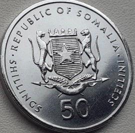 50 Шиллингов, 2002 года, Республика Сомали,Монета, Монеты, 50 Shillings 2002,Republic of Somalia,Фауна, Мавпа, Fauna, Monkey,Фауна, Обезьянана монете,Coat of arms of Somalia,Герб Сомалина монете.