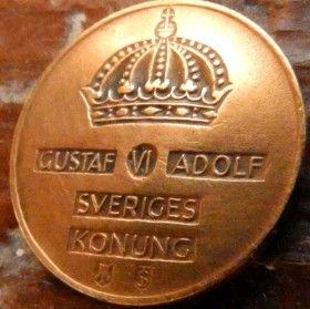 2 Эре, 1953 года, Швеция, Монета, Монеты, 2 Ore 1953, Sverige, Sweden,Crown,Корона на монете.