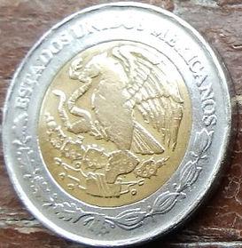 2 Новыхпесо, 1992 года,Мексика, Монета, Монеты, 2 Pesos 1992, EstadosUnidos Mexicanos,Оrnament,Орнамент на монете,Coat of arms of Mexico, Герб Мексикина монете.
