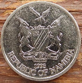 10 Центов, 1993 года, Намибия, Монета, Монеты, 10 Cents 1993,  Republic of Namibia, Flora, Tree, Флора, Дерево на монете, Coat of arms of Namibia, Герб Намибии на монете.
