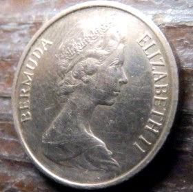 1 Цент, 1971 года, Бермудские Острова, Монета, Монеты, 1 One Cent1971, Bermuda,Fauna,Boar, Фауна,Дикий кабан на монете,Королева Elizabeth II, Елизавета IIна монете, Второй портрет королевы.