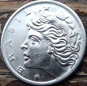 5 Сентаво,1969 года, Бразилия, Монета, Монеты, 5 Centavos 1969, Brasil, Дівчина,Girl,Девушка на монете.